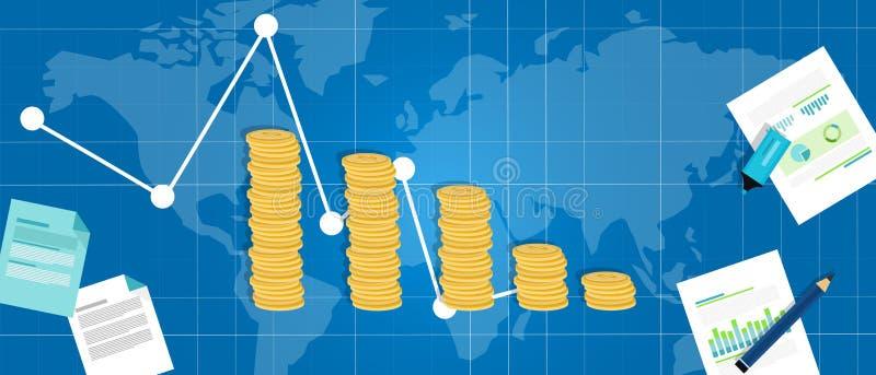 Vers le bas baisse financière économique de PIB de récession de crise illustration libre de droits