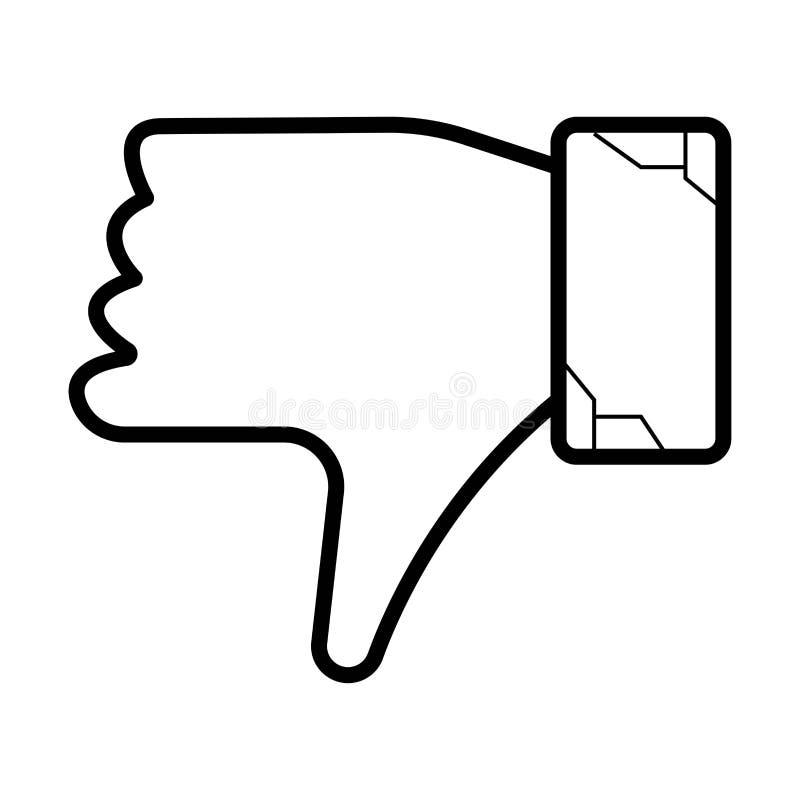Vers le bas icône de main illustration de vecteur