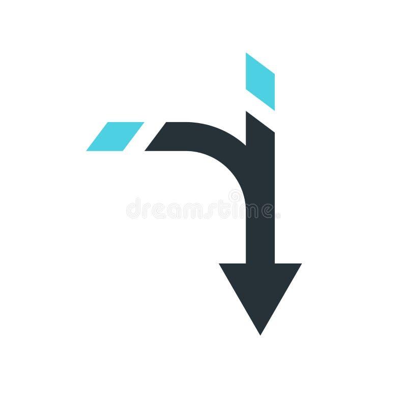Vers le bas signe et symbole de vecteur d'icône de flèche d'isolement sur le backgro blanc illustration de vecteur