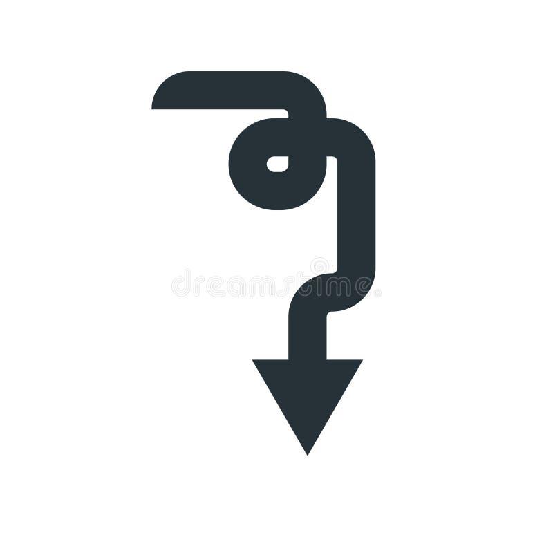 Vers le bas signe et symbole de vecteur d'icône de flèche d'isolement sur le backgro blanc illustration stock