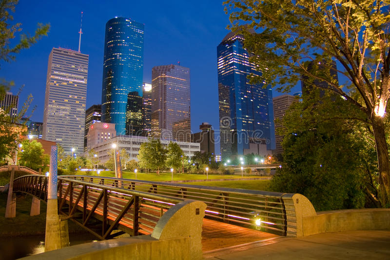 Vers le bas ville Houston photographie stock
