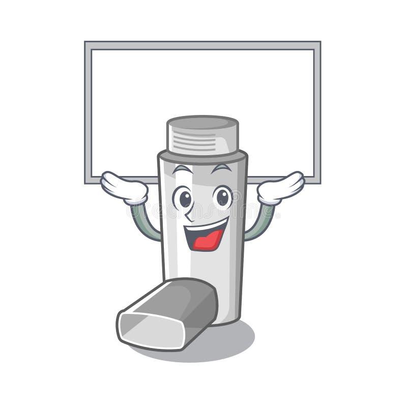 Vers le haut de l'inhalateur d'asthme de conseil dans la forme de bande dessinée illustration de vecteur