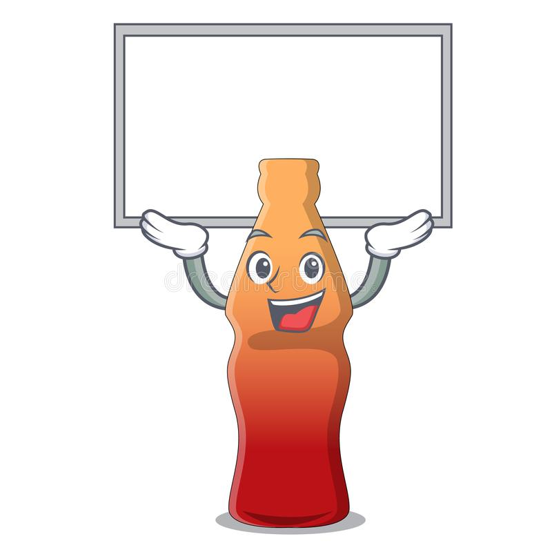 Vers le haut de la bande dessinée de caractère de sucrerie de gelée de bouteille de kola de conseil illustration stock