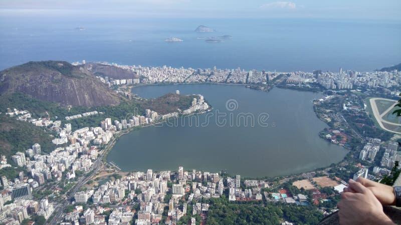 Vers le haut de Rio de Janeiro, Copacabana, cristo photos stock