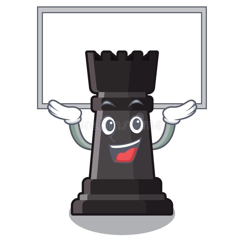 Vers le haut des jouets d'échecs de freux de conseil au-dessus de table de bande dessinée illustration stock