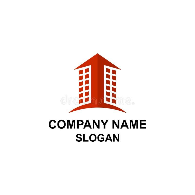 Vers le haut du logo de bâtiment de signe de flèche illustration de vecteur