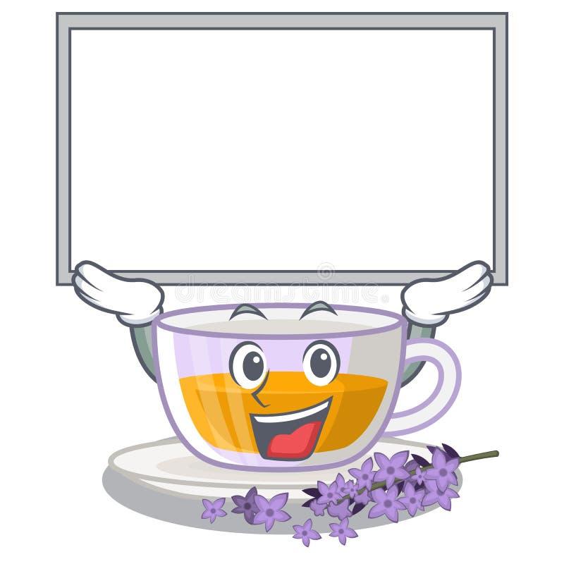 Vers le haut du thé de lavande de conseil dans la forme de mascotte illustration de vecteur