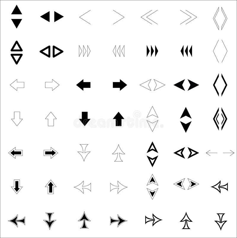 Vers le haut, vers le bas, de prochaines, précédentes, gauches et droites flèches sont faits dans différents styles image libre de droits