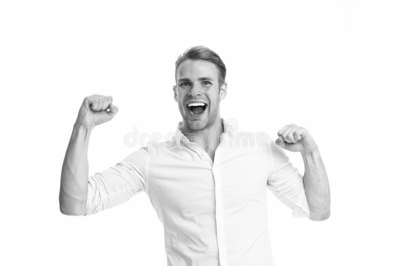 Vers le succès Fort et plein de l'?nergie Type non rasé beau fort d'homme Homme avec les bras musculaires s?rs et forts images stock