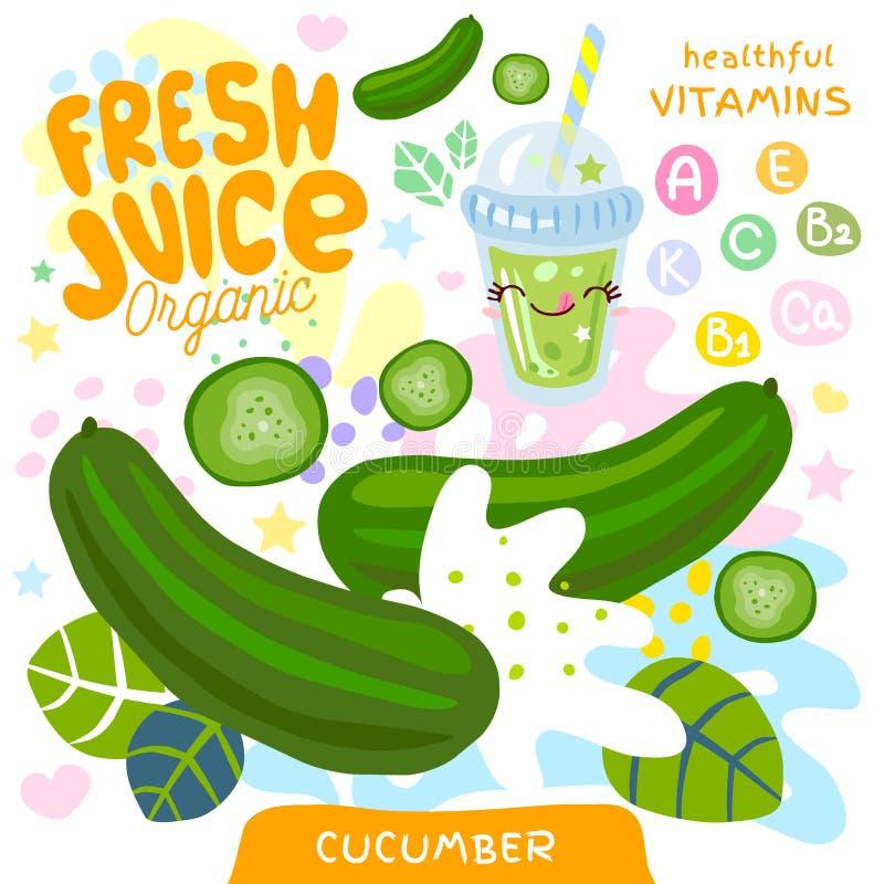 Vers leuk kawaiikarakter van het sap organisch glas Kop van komkommer de plantaardige groene smoothies Vector illustratie vector illustratie