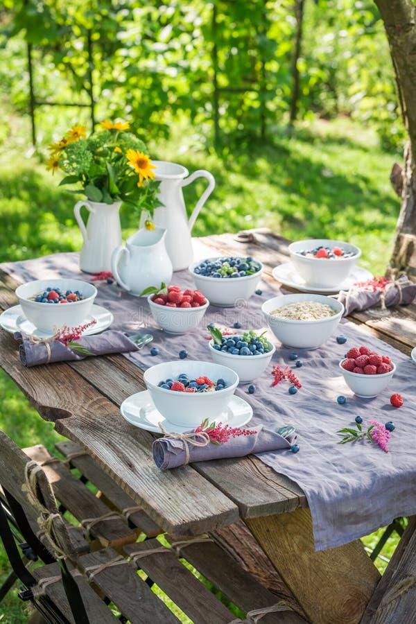 Vers ontbijt met frambozen en bosbessen in de zomer stock afbeelding