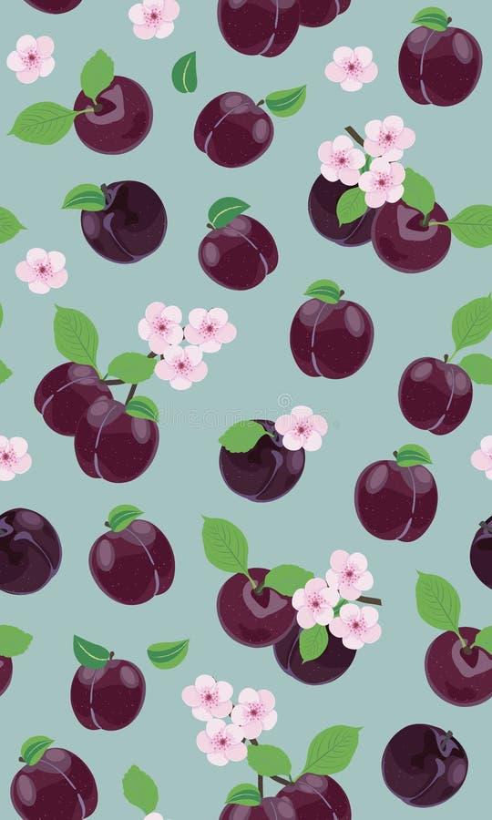Vers purper pruim naadloos patroon met roze kersenbloesem op groene achtergrond stock illustratie