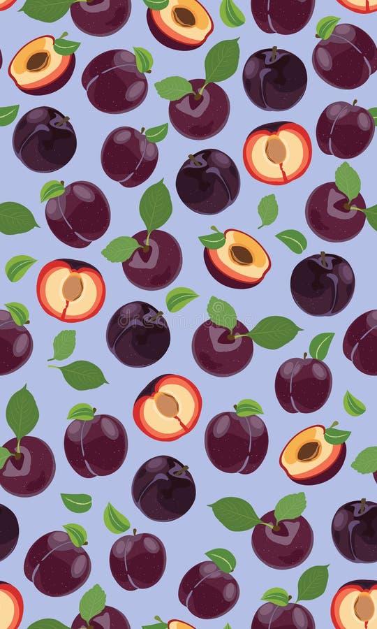 Vers purper pruim naadloos patroon, plakken, kuilen, bladeren, kern Reeks vruchten Vector illustratie royalty-vrije illustratie