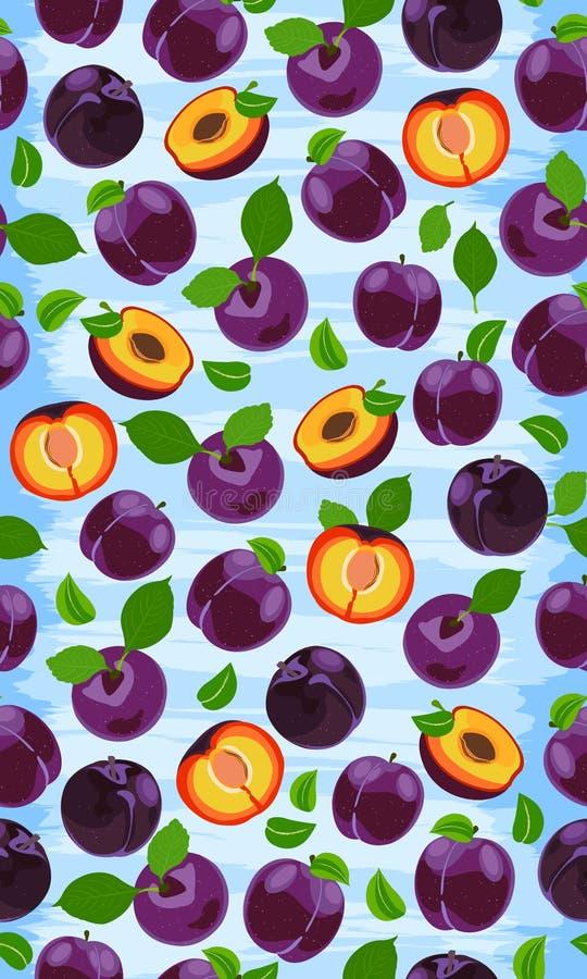 Vers purper pruim naadloos patroon, plakken, kuilen, bladeren, kern Reeks vruchten Vectorillustratie op grunge stock illustratie