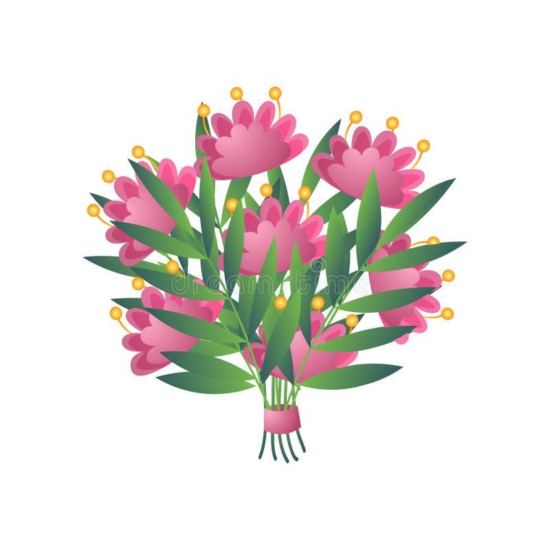 Vers roze geel bloomy exotisch die bloemboeket met lint op wit wordt geïsoleerd stock illustratie
