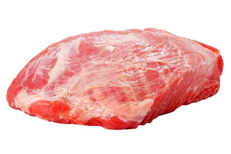 Vers ruw die varkensvleesvlees op wit wordt geïsoleerd stock afbeeldingen