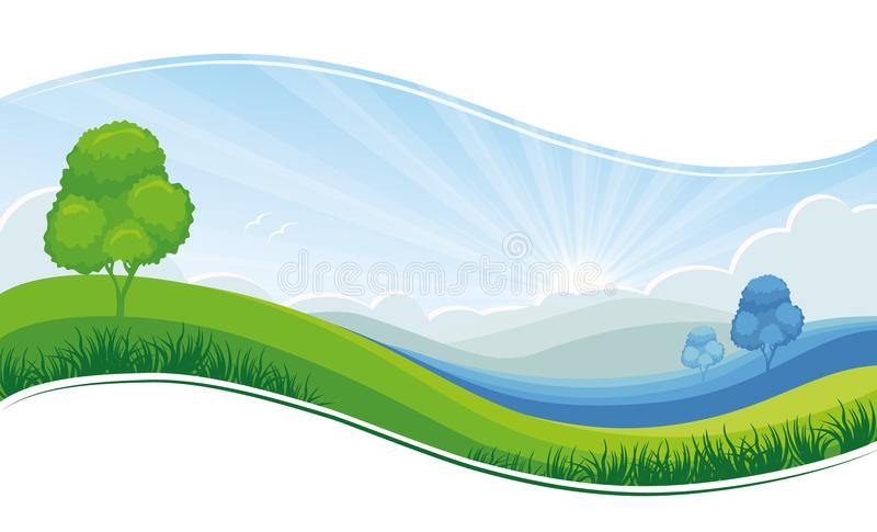 Vers van de de ochtendzomer of lente landschap, groene weide, blauwe hemel - vectorachtergrond royalty-vrije illustratie