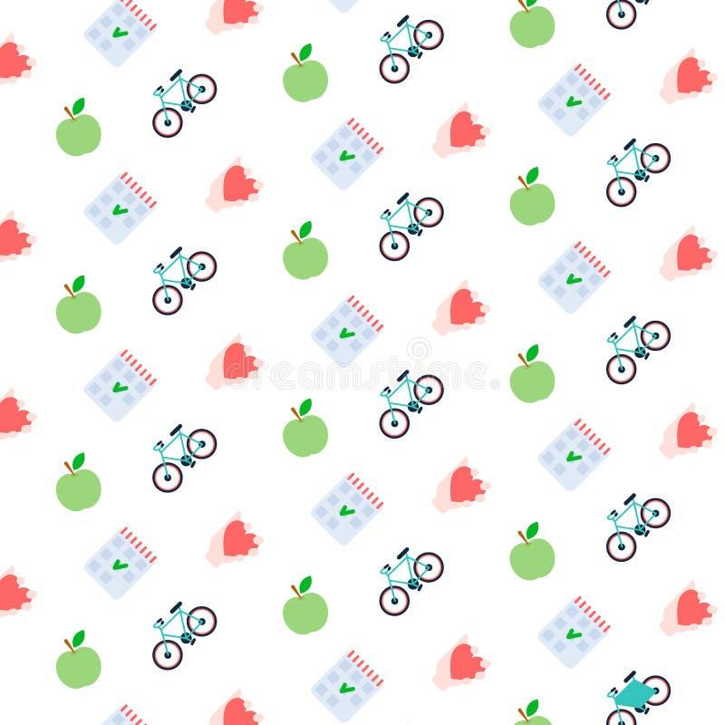 Vers van het de lijsthart van de appelcontrole van het de fietspictogram van het de levensstijlconcept gezond van de het patroong royalty-vrije illustratie