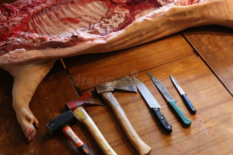 Vers varkensvlees stock foto