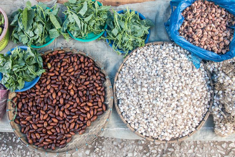 Vers voedsel op de markt van Laos stock afbeelding