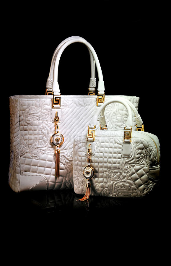 Versace ladies leather handbags stock photo