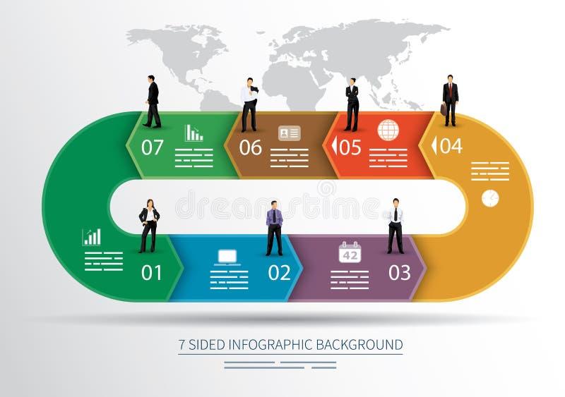 7 versahen infographics Hintergrund mit Seiten lizenzfreie abbildung