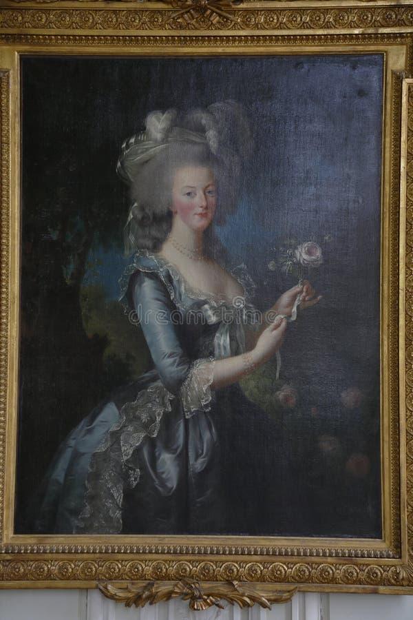 VERSAILLE: Pittura Marie Antoinette, moglie di re Louis XVI della figlia della Francia dell'imperatore Francis I e Maria Theresa  fotografie stock
