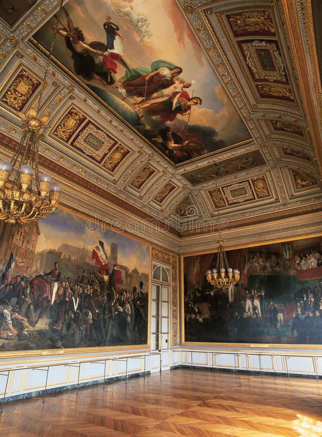 Versailles, France - 10 August 2014 : Large room with paintings on wall and ceiling at Versailles Palace royalty free stock photo