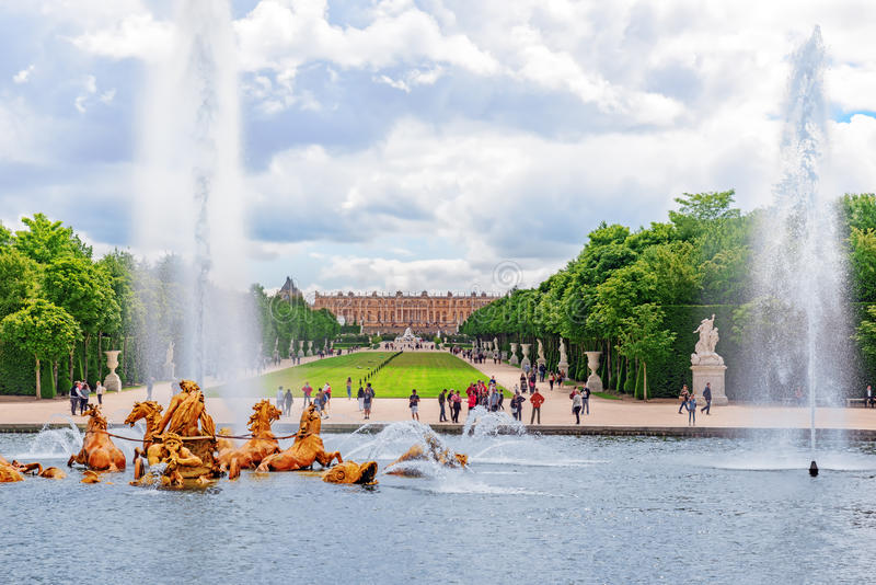 VERSAILLES, FRANCE - 02, JULY 2016 : Fountain of Apollo in a beautful and Famous Gardens of Versailles (Chateau de Versailles). F. Rance royalty free stock photography