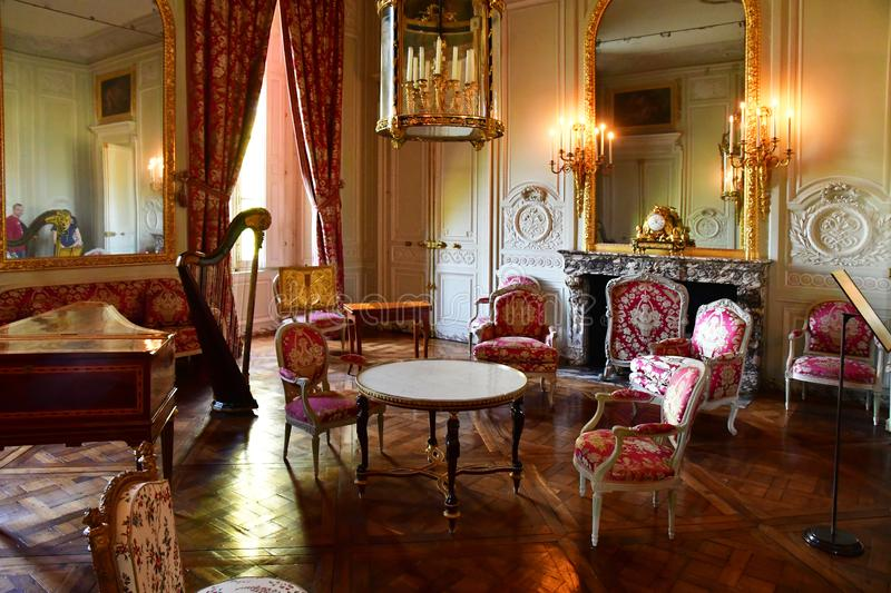 Versailles; France - october 14 2018 : Petit Trianon in the Marie Antoinette estate. Versailles; France - october 14 2018 : drawing room in Petit Trianon in the royalty free stock images