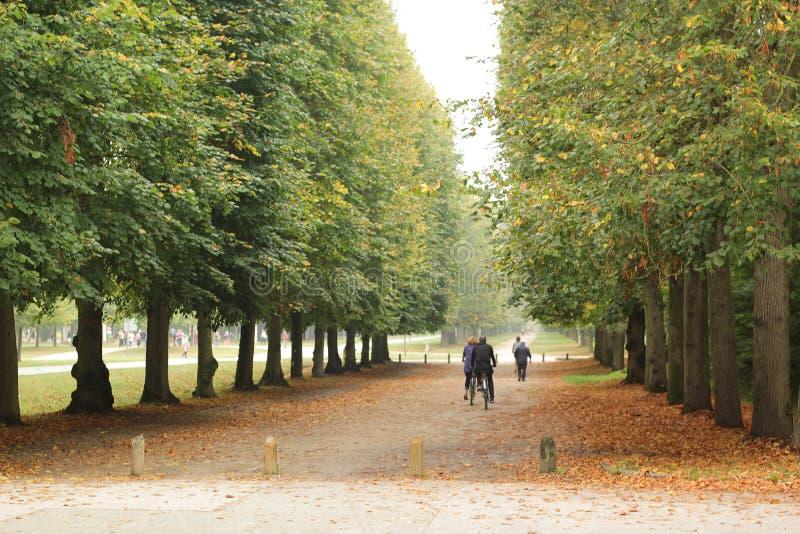 Versailles, Frankrijk - Augustus 27, 2017: Mooi landschap met de bouw en bomen op de beide kanten royalty-vrije stock fotografie