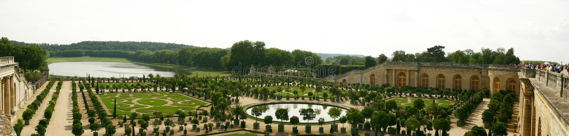 Versailles Gardens. Panorama near Paris stock image