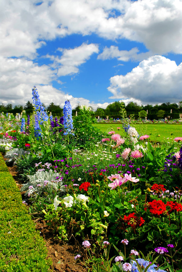 Versailles gardens. Blooming colorful flowerbeds in Versailles gardens, France stock photo