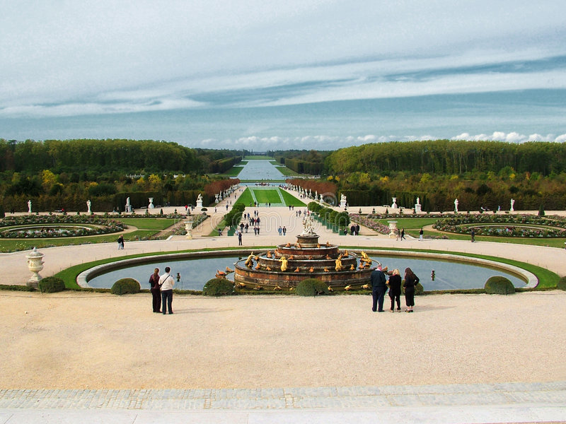 Versailles gardens. Gardens with fountain in Versailles - France stock image