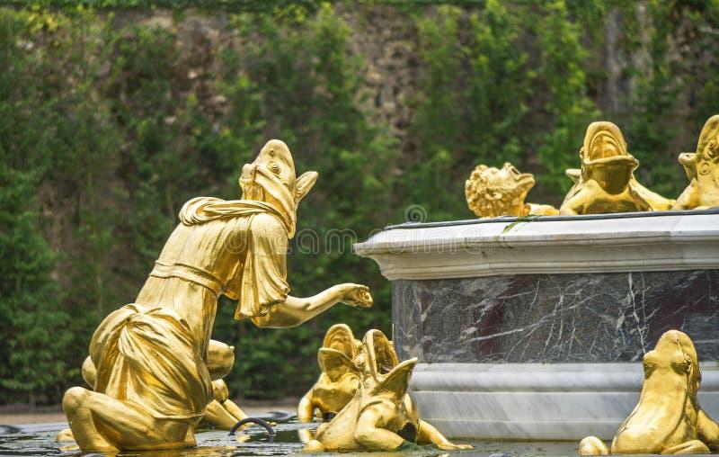 In Versailles Gardens. Central fountain fragment in Versailles gardens. France stock image
