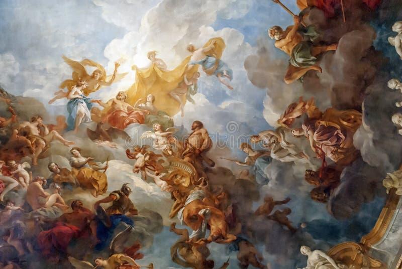 VERSAILLES PARIGI, FRANCIA - 30 dicembre: Pittura del soffitto in lei illustrazione vettoriale