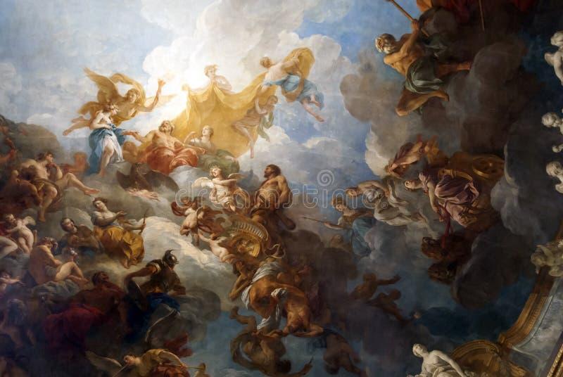 VERSAILLES PARIGI, FRANCIA - 30 dicembre: Pittura del soffitto in lei illustrazione di stock