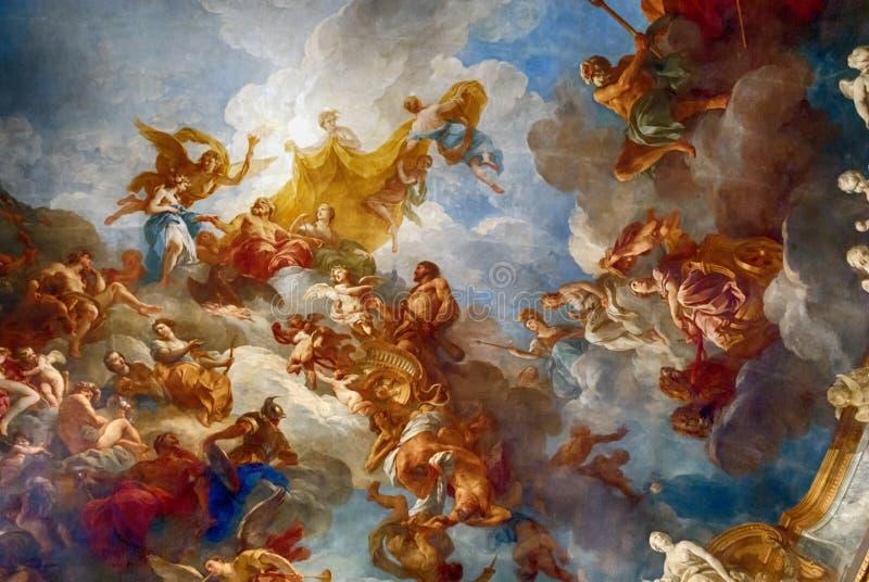 VERSAILLES PARIGI, FRANCIA - 30 dicembre: Pittura del soffitto in lei royalty illustrazione gratis