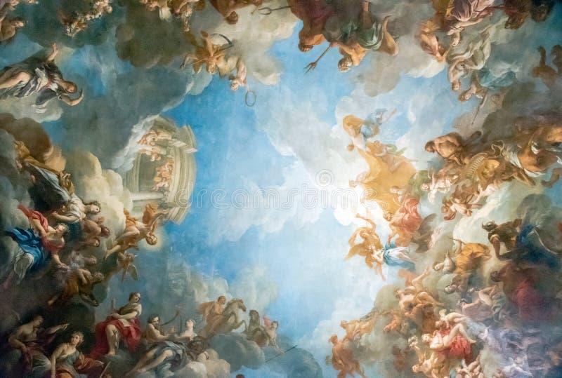 VERSAILLES PARIS, FRANCE - April 18 : Ceiling painting. Ceiling painting of Palace Versailles near Paris, France