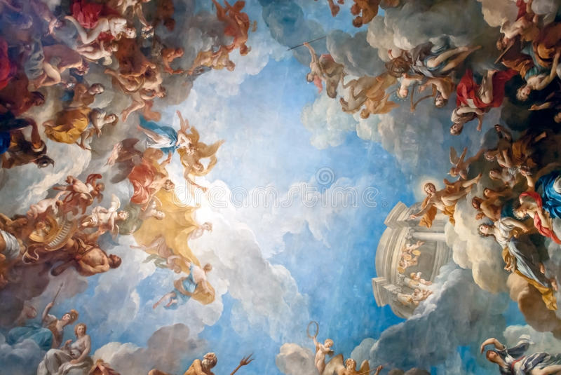 VERSAILLES PARIS, FRANCE - December 30 : Ceiling painting in Her stock photos