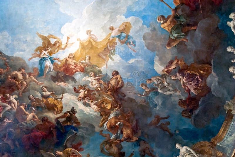 VERSAILLES PARIS, FRANCE - December 30 : Ceiling painting in Her. Ceiling painting of Palace Versailles near Paris, France