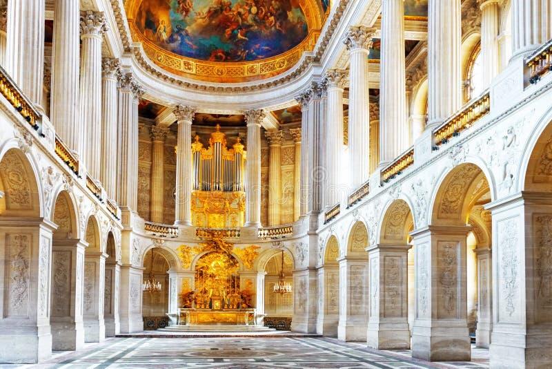 Versailles slott. Berömt kungligt kapell arkivfoto