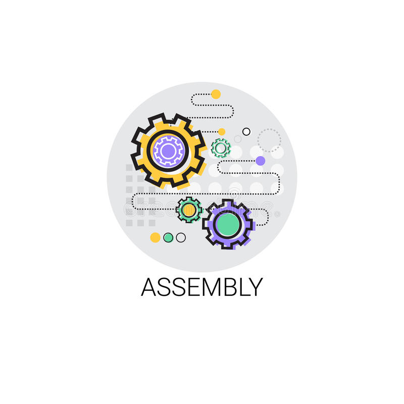 Versammlungs-Maschinerie-industrielle Automatisierungs-Industrie-Produktions-Ikone vektor abbildung