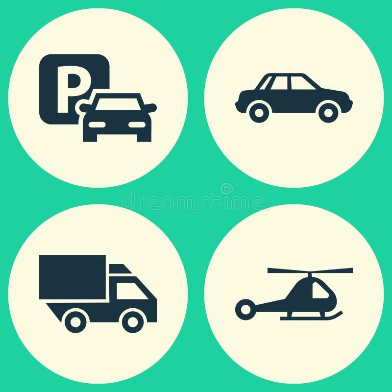 Versand-Ikonen eingestellt Sammlung Verkehrsschild, Zerhacker, Automobil und andere Elemente Schließt auch Symbole wie Van ein lizenzfreie abbildung