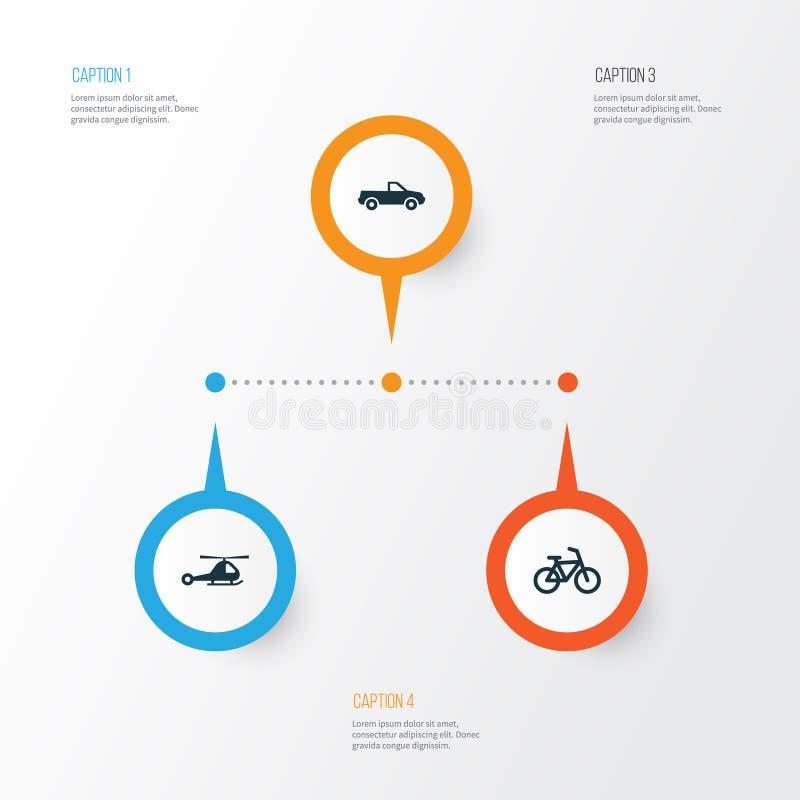 Versand-Ikonen eingestellt Sammlung Zerhacker, Cabriolet, Fahrrad und andere Elemente Schließt auch Symbole wie Aufnahme ein vektor abbildung