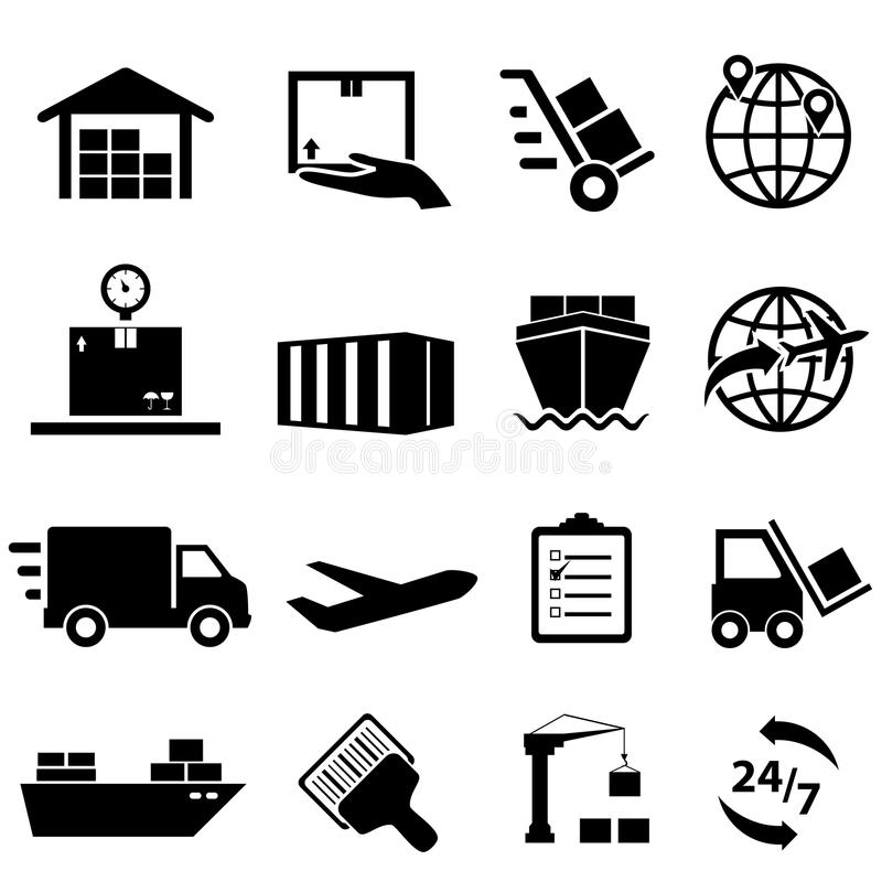Versand-und Logistik-Ikonen stock abbildung
