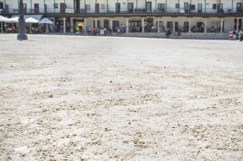 Versanden Sie Detail des Hauptplatzes an Chinchon-Stadt, Spanien stockfoto