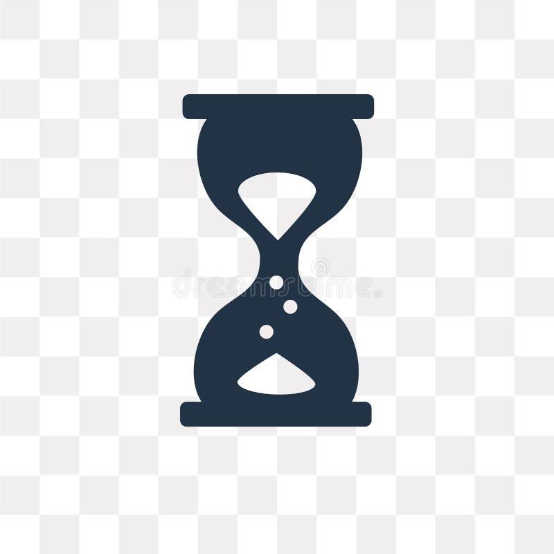 Versanden Sie die Uhrvektorikone, die auf transparentem Hintergrund, Sand lokalisiert wird stock abbildung