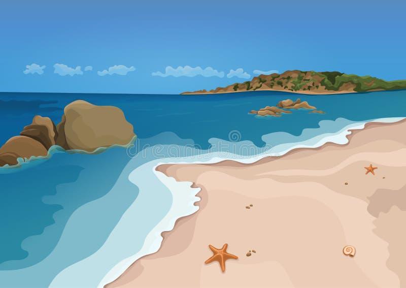 Versanden Sie Strand und Meer, buntes Grafikdiagramm des Vektors Sandy-Ufer mit Starfish und Muscheln, Meereswellen, Ozean, Felse lizenzfreie abbildung