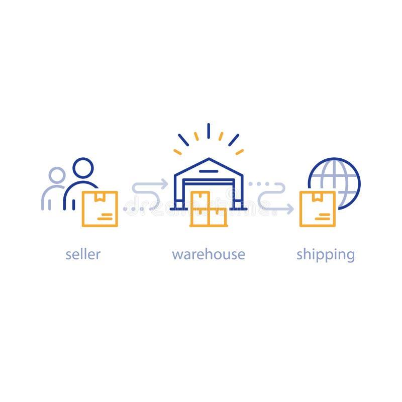 Versandpaket von Verkäufer zu Käufer global, internationaler Versand, Vertriebsnetz, Lagerikone lizenzfreie abbildung